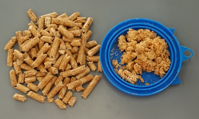 Pellets beside wet pellets turned to sawdust