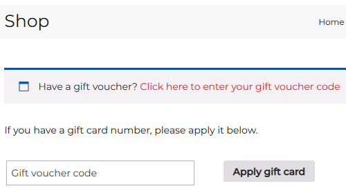 Gift certificate entry on checkout page